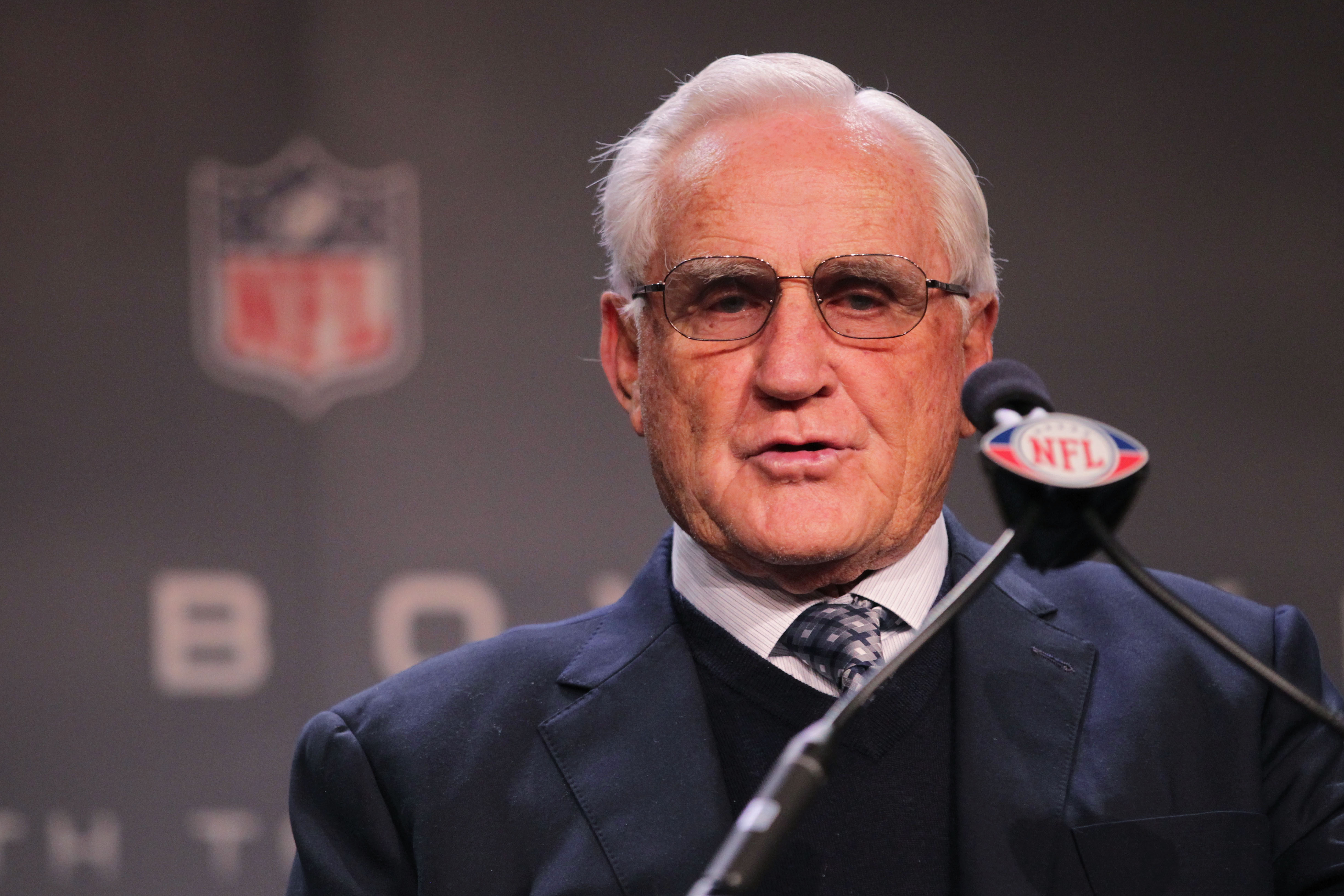 DALLAS, TX - FEBRUARY 04:  Former Miami Dolphins head coach Don Shula speaks during a press conference where he presented the Don Shula NFL Coach of the Year Award to Madison High School Head Football Coach Ray Seals at the Super Bowl XLV media center on