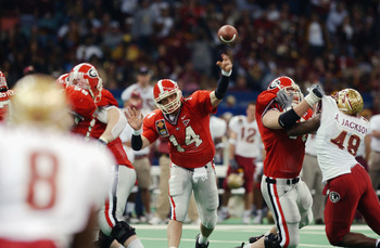 NEW ORLEANS - JANUARY 1:  Quarterback David Greene #14 of the University of Georgia Bulldogs passes the ball during the the Nokia Sugar Bowl game against the Florida State University Seminoles at the Louisiana Superdome on January 1, 2003 in New Orleans,