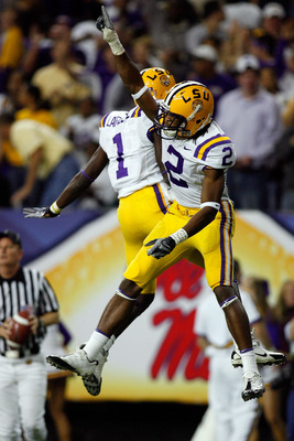 ATLANTA - DECEMBER 01:  Brandon LaFell#1 and Demetrius Byrd #2 of the Louisiana State University Tigers celebrate after Byrd caught a touchdown pass against the University of Tennessee Volunteers in the SEC Championship game on December 1, 2007 at the Geo