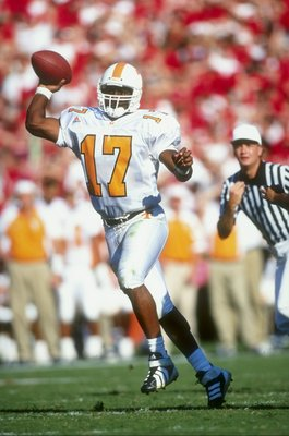10 Oct 1998:  Quarterback Tee Martin #17 of the Tennessee Volunteers throws during a game against  the Georgia Bulldogs at Sanford Stadium in Athens, Georgia. Tennessee defeated Georgia 22-3. Mandatory Credit: Vincent Laforet  /Allsport