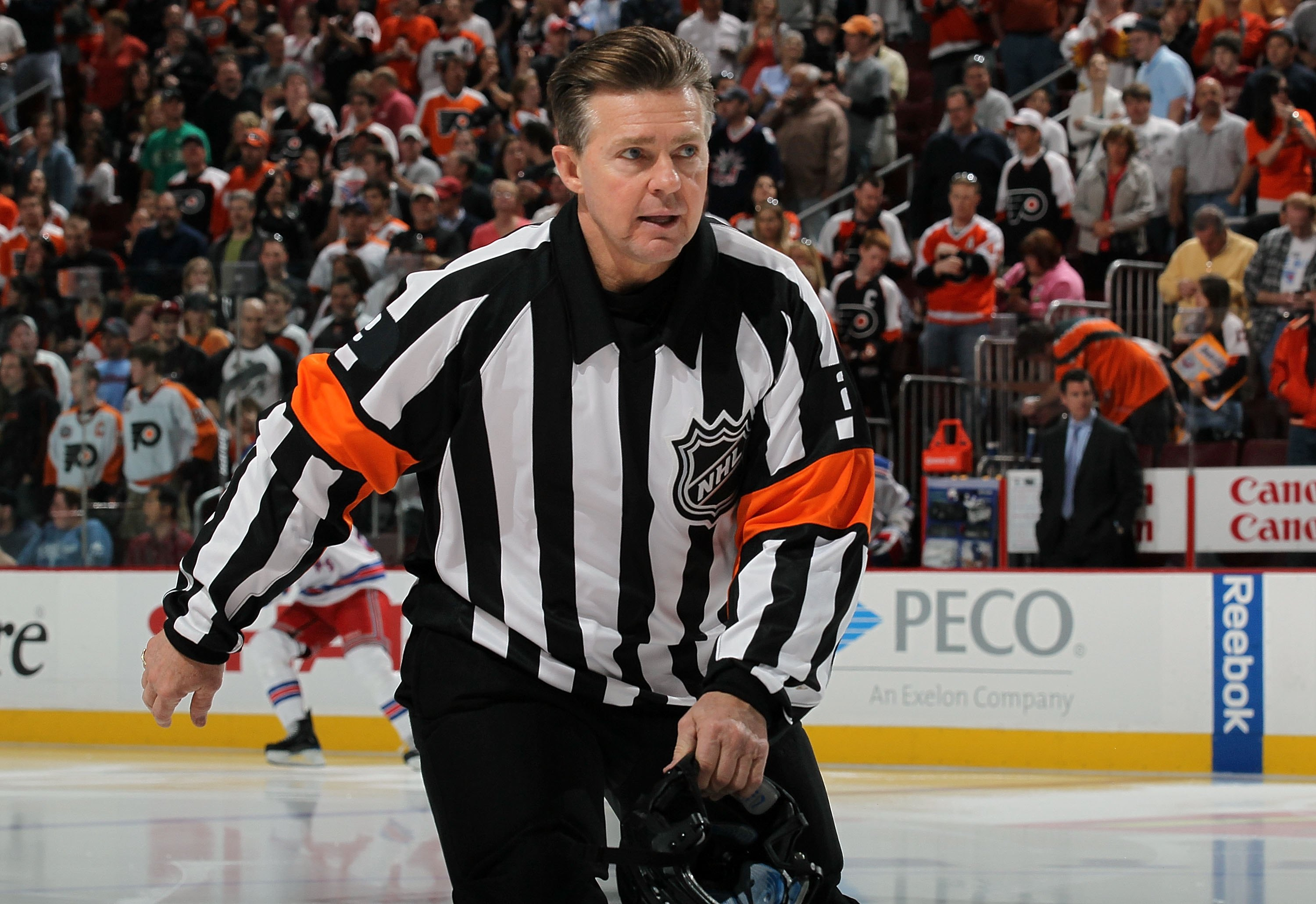 PHILADELPHIA - APRIL 11:  Referee Kerry Fraser #2 takes the ice for the game between the New York Rangers and the Philadelphia Flyers on April 11, 2010 at Wachovia Center in Philadelphia, Pennsylvania. The game was Fraser's last in the NHL as he is retiri