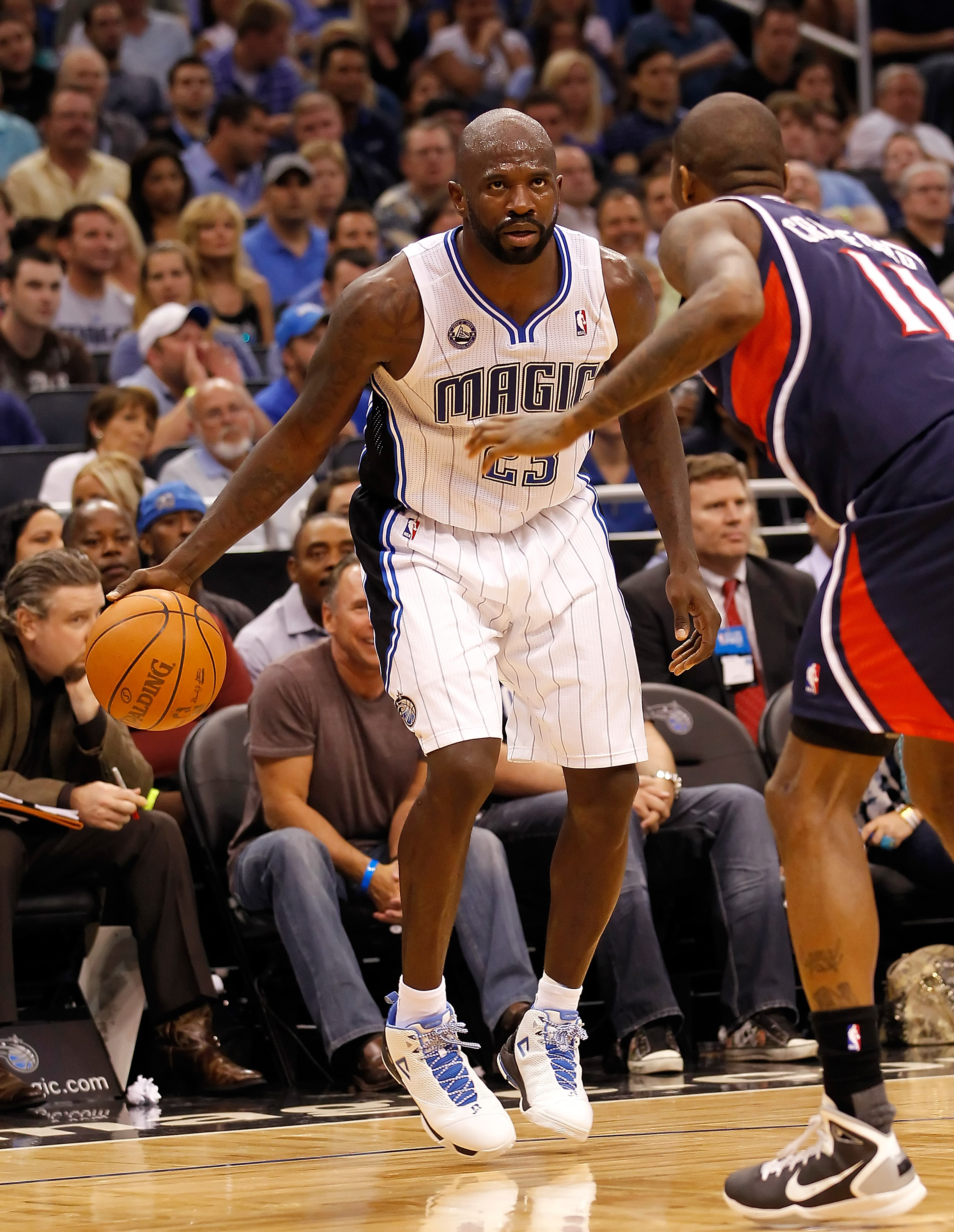 ORLANDO, FL - APRIL 26:  Jason Richardson #23 of the Orlando Magic drives against the Atlanta Hawks during Game Five of the Eastern Conference Quarterfinals of the 2011 NBA Playoffs on April 26, 2011 at the Amway Arena in Orlando, Florida.  NOTE TO USER: