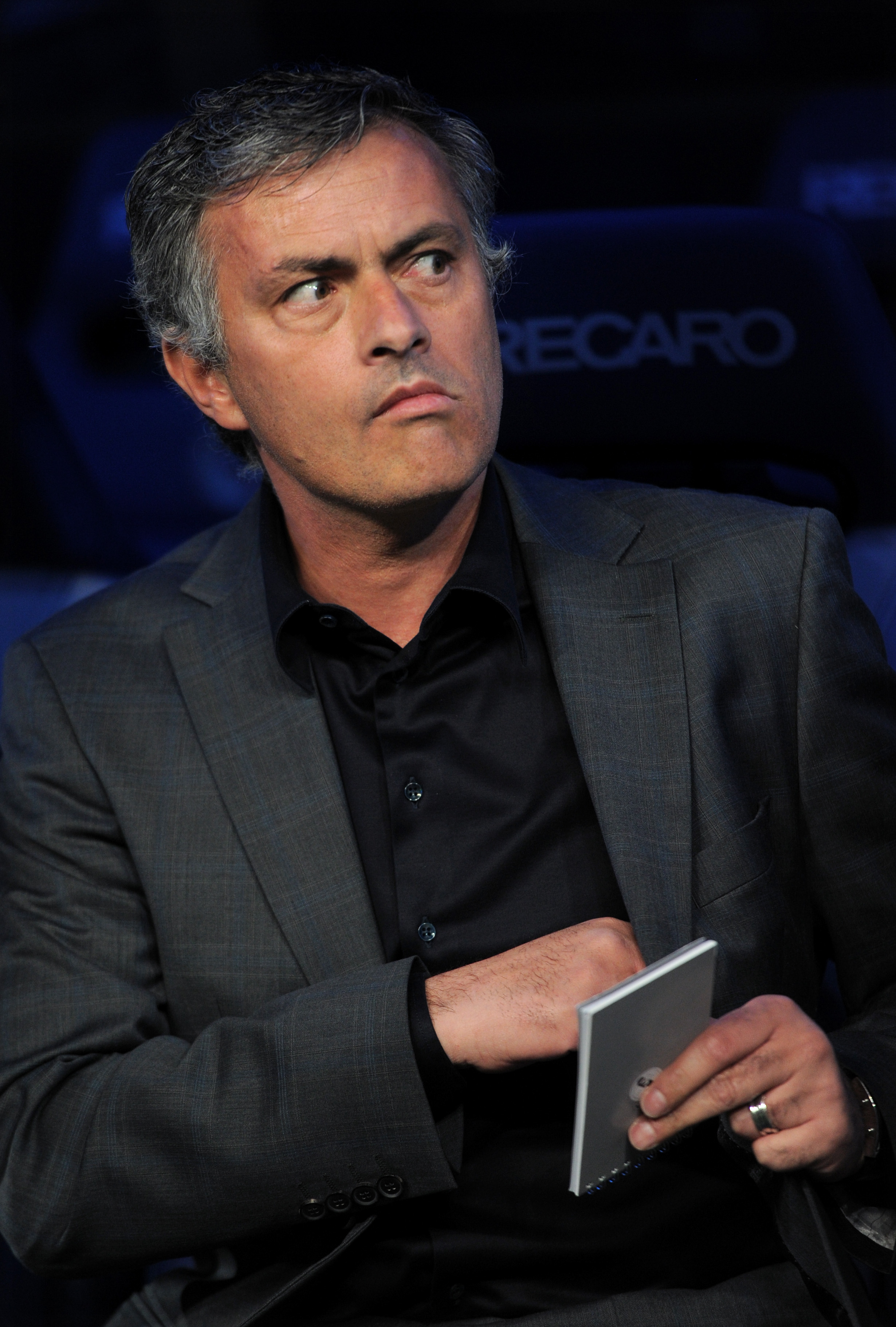 MADRID, SPAIN - APRIL 16:  Head coach Jose Mourinho of Real Madrid looks on prior to the start of the la Liga match between Real Madrid and Barcelona at Estadio Santiago Bernabeu on April 16, 2011 in Madrid, Spain.  (Photo by Jasper Juinen/Getty Images)