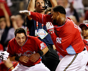 ST LOUIS, MO - JULY 13:  National League All-Star Prince Fielder of the Milwaukee Brewers celebrates with teammate Ryan Braun after winning the State Farm Home Run Derby at Busch Stadium on July 13, 2009 in St. Louis, Missouri.  (Photo by Elsa/Getty Image