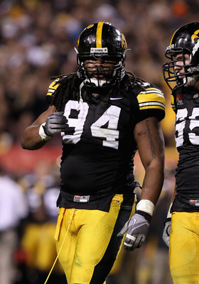 TEMPE, AZ - DECEMBER 28:  Defensive end Adrian Clayborn #94 of the Iowa Hawkeyes during the Insight Bowl against the Missouri Tigers at Sun Devil Stadium on December 28, 2010 in Tempe, Arizona. The Hawkeyes defeated the Tigers 27-24.  (Photo by Christian