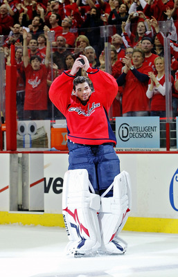 WASHINGTON , DC - APRIL 23:  Michal Neuvirth #30 of the Washington Capitals celebrates being named the first star of the game against the New York Rangers in Game Five of the Eastern Conference Quarterfinals during the 2011 NHL Stanley Cup Playoffs at the