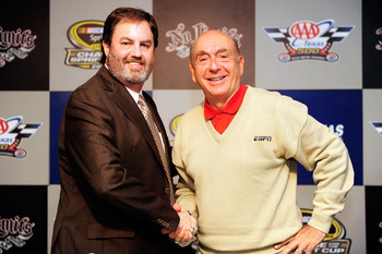 FORT WORTH, TX - NOVEMBER 07:  Texas Motor Speedway president Eddie Gossage (L) and sportscaster Dick Vitale pose in the media center prior to the start of the NASCAR Sprint Cup Series AAA Texas 500 at Texas Motor Speedway on November 7, 2010 in Fort Wort