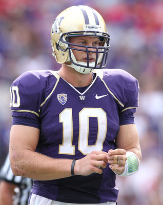 SEATTLE - SEPTEMBER 18: Quarterback Jake Locker #10 of the Washington Huskies looks on during the game against the Nebraska Cornhuskers on September 18, 2010 at Husky Stadium in Seattle, Washington. (Photo by Otto Greule Jr/Getty Images)