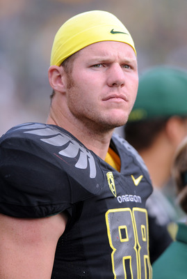 EUGENE, OR - SEPTEMBER 04: Defensive tackle Brandon Bair #88 of the Oregon Ducks watches the action from the sidelines in the third quarter of the game against the New Mexico Lobos at Autzen Stadium on September 4, 2010 in Eugene, Oregon. Oregon won the g