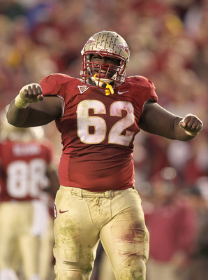 TALLAHASSEE, FL - NOVEMBER 27: Rodney Hudson #62 of the Florida State Seminoles celebrates a touchdown during a game against the Florida Gators at Doak Campbell Stadium on November 27, 2010 in Tallahassee, Florida.  (Photo by Mike Ehrmann/Getty Images)