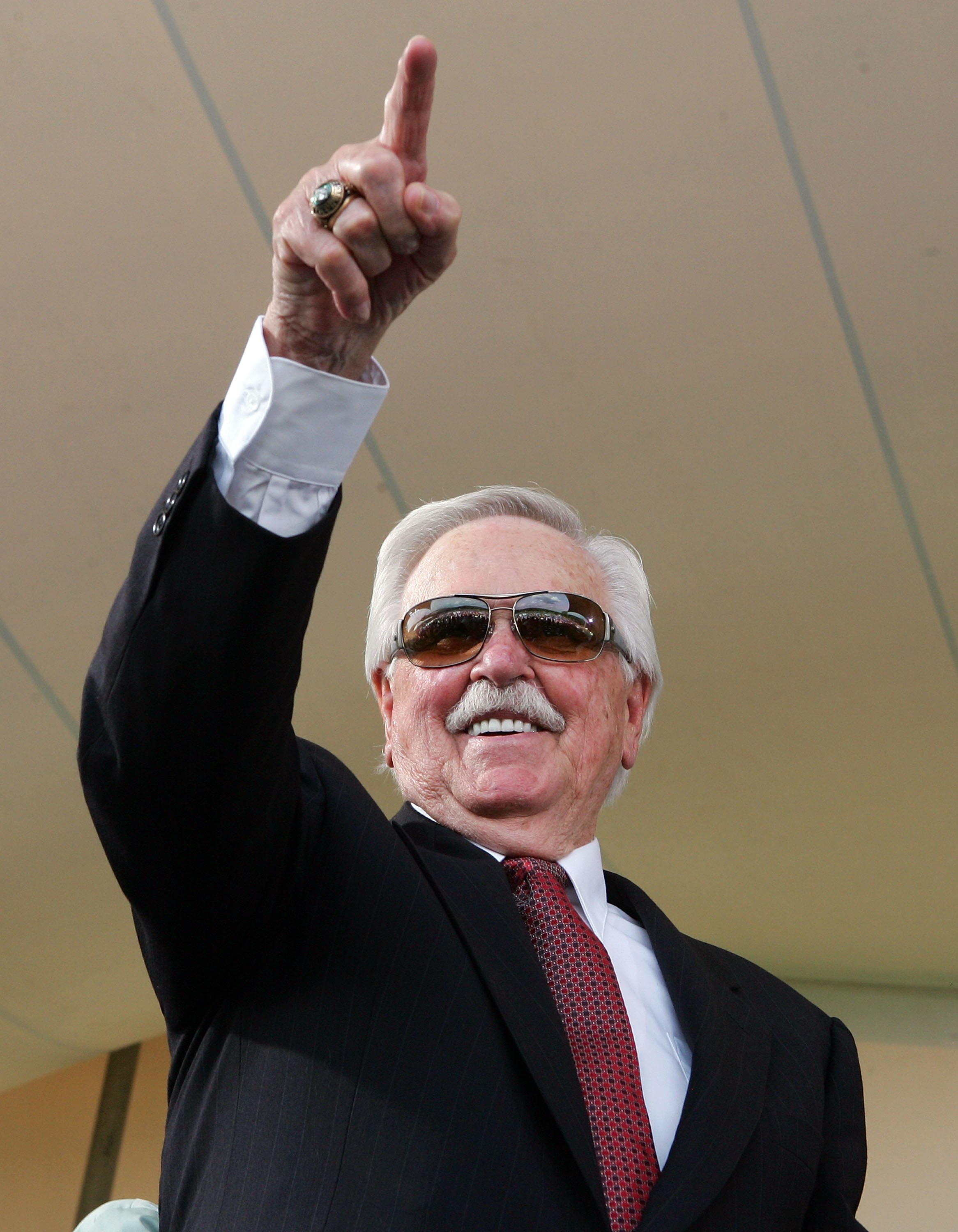 COOPERSTOWN, NY - JULY 27:  Hall of Famer Dick Williams waves to the crowd after his induction into the Baseball Hall of Fame at Clark Sports Center on July 27, 2008 in Cooperstown, New York.  (Photo by Jim McIsaac/Getty Images)