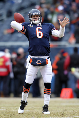 CHICAGO, IL - JANUARY 16:  Quarterback Jay Cutler #6 of the Chicago Bears throws the ball during pregame before the Bears take on the Seattle Seahawks in the 2011 NFC divisional playoff game at Soldier Field on January 16, 2011 in Chicago, Illinois.  (Pho