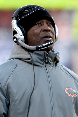 CHICAGO, IL - JANUARY 23:  Head coach Lovie Smith of the Chicago Bears looks on in the second quarter agianst the Green Bay Packers in the NFC Championship Game at Soldier Field on January 23, 2011 in Chicago, Illinois.  (Photo by Jonathan Daniel/Getty Im