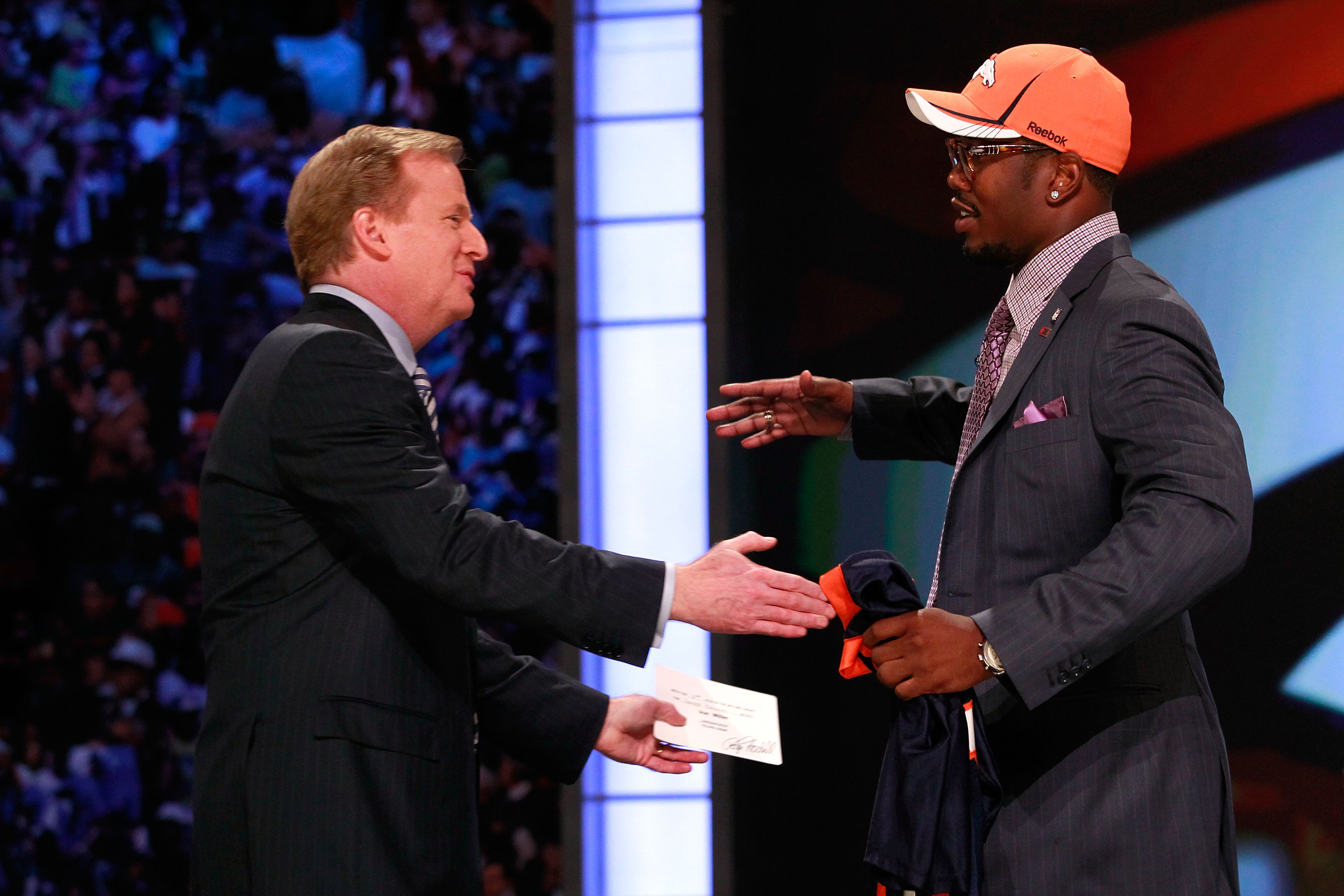 NEW YORK, NY - APRIL 28:  NFL Commissioner Roger Goodell greets Von Miller, #2 overall pick by the Denver Broncos, during the 2011 NFL Draft at Radio City Music Hall on April 28, 2011 in New York City.  (Photo by Chris Trotman/Getty Images)
