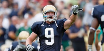 SOUTH BEND,IN - SEPTEMBER 13:  Ethan Johnson #9 of the Notre Dame Fighting Irish yells during the game against the Michigan Wolverines on September 13, 2008 at Notre Dame Stadium in South Bend, Indiana. (Photo by: Gregory Shamus/Getty Images)