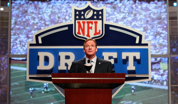 NEW YORK, NY - APRIL 28:  NFL Commissoner Roger Goodell speaks at the podium during the 2011 NFL Draft at Radio City Music Hall on April 28, 2011 in New York City.  (Photo by Chris Trotman/Getty Images)