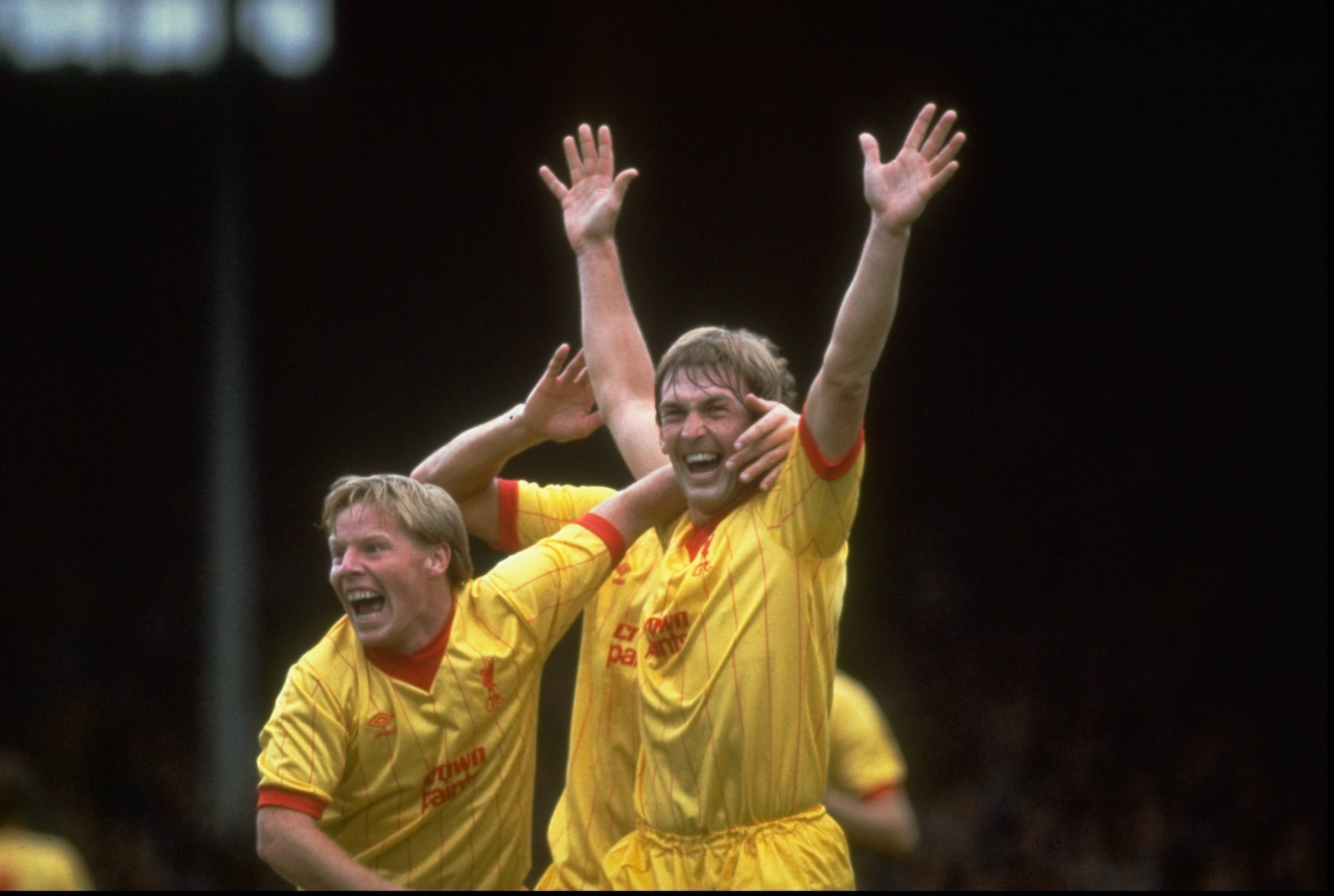 1983:  Sammy Lee (left) and Kenny Dalglish (right) of Liverpool celebrate Dalglish's goal during the Division One match against Arsenal at Highbury in London. \ Mandatory Credit: Allsport UK /Allsport