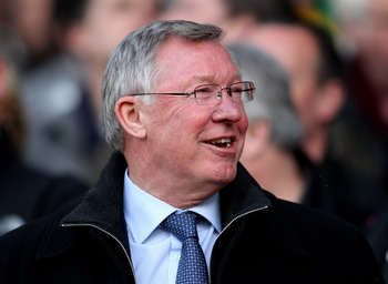 MANCHESTER, ENGLAND - APRIL 12:  Manchester United Manager Sir Alex Ferguson laughs prior to the UEFA Champions League Quarter Final second leg match between Manchester United and Chelsea at Old Trafford on April 12, 2011 in Manchester, England.  (Photo b