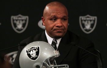 ALAMEDA, CA - JANUARY 18:  New Oakland Raiders coach Hue Jackson pauses as he speaks to reporters during a press conference on January 18, 2011 in Alameda, California. Hue Jackson was introduced as the new coach of the Oakland Raiders, replacing the fired