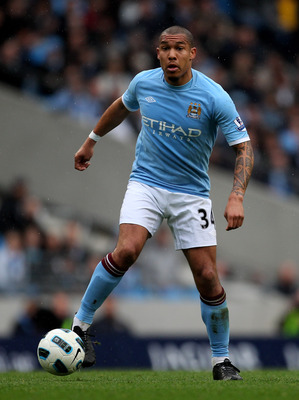 MANCHESTER, ENGLAND - APRIL 03:   Nigel de Jong of Manchester City in action during the Barclays Premier League match between Manchester City and Sunderland at the City of Manchester Stadium on April 3, 2011 in Manchester, England.  (Photo by Alex Livesey