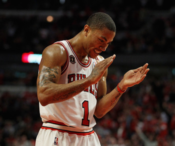 CHICAGO, IL - APRIL 26: Derrick Rose #1 of the Chicago Bulls claps while celebrating a play against the Indiana Pacers in Game Five of the Eastern Conference Quarterfinals in the 2011 NBA Playoffs at the United Center on April 26, 2011 in Chicago, Illinoi