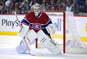 MONTREAL, CANADA - APRIL 26:  Carey Price #31 of the Montreal Canadiens tends his net in Game Six of the Eastern Conference Quarterfinals against the Boston Bruins during the 2011 NHL Stanley Cup Playoffs at the Bell Centre on April 26, 2011 in Montreal,