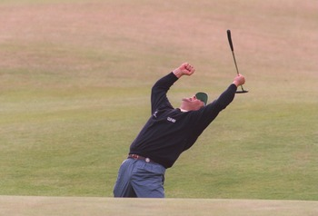 23 JUL 1995:  CONSTANTINO ROCCA OF ITALY CELEBRATES AFTER HOLING HIS PUTT ON THE 18TH GREEN TO GO INTO A PLAYOFF AGAINST JOHN DALY  DURING THE FINAL ROUND OF THE 1995 BRITISH OPEN GOLF CHAMPIONSHIPS ON THE OLD COURSE AT ST. ANDREWS GOLF COURSE IN ST. ANDR