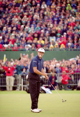 French golfer Jean Van de Velde prepares for his 7th shot on the 18th green in the final round of the British Open Championship at Carnoustie, Scotland, 18th July 1999. Having arrived at the 18th tee with a three-shot lead, Van de Velde narrowly lost the