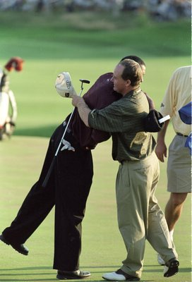 20 Aug 2000:  Bob May congratulates Tiger Woods after winning the PGA Championship, part of the PGA Tour at the Valhalla Golf Club in Louisville, Kentucky.Mandatory Credit: David Cannon  /Allsport