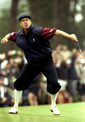 20 Jun 1999:  Payne Stewart of the United States celebrates victory after sinking his final putt during the last day of the 1999 US Open played on the number two course at Pinehurst in North Carolina, USA. \ Mandatory Credit: David Cannon /Allsport