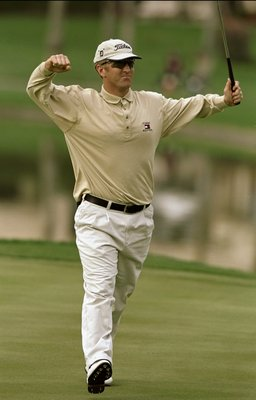 24 Jan 1999: David Duval celebrates after a 59 score during the Bob Hope Chrysler Classic at the PGA West Palmer Country Club in La Quinta, California. Mandatory Credit: Harry How  /Allsport