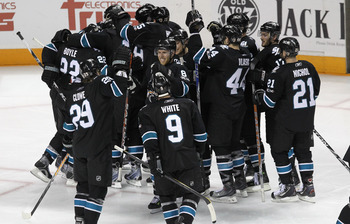 SAN JOSE, CA - APRIL 29:  The San Jose Sharks celebrate after they beat the Detroit Red Wings in overtime in Game One of the Western Conference Semifinals during the 2011 NHL Stanley Cup Playoffs at HP Pavilion on April 29, 2011 in San Jose, California.