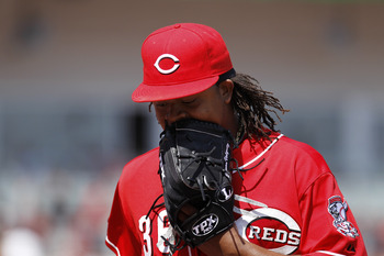 CINCINNATI, OH - APRIL 17: Edinson Volquez #36 of the Cincinnati Reds reacts after being taken out of the game in the sixth inning against the Pittsburgh Pirates at Great American Ball Park on April 17, 2011 in Cincinnati, Ohio. The Pirates won 7-6. (Phot
