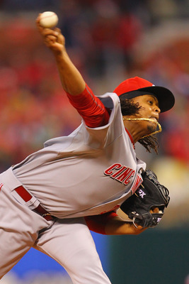 ST. LOUIS, MO - APRIL 24: Starter Edinson Volquez #36 of the Cincinnati Reds pitches against the St. Louis Cardinals at Busch Stadium on April 24, 2011 in St. Louis, Missouri.  (Photo by Dilip Vishwanat/Getty Images)