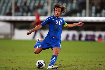 FLORENCE, ITALY - SEPTEMBER 07:  Andrea Pirlo of Italy in action during the Euro 2012 Group C qualifier match between Italy anf Faroe Islands on September 7, 2010 in Florence, Italy.  (Photo by Paolo Bruno/Getty Images)