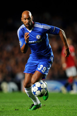 LONDON, ENGLAND - APRIL 06: Nicolas Anelka of Chelsea runs with the ball during the UEFA Champions League quarter final first leg match between Chelsea and Manchester United at Stamford Bridge on April 6, 2011 in London, England.  (Photo by Mike Hewitt/Ge