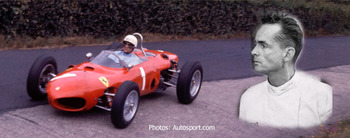 Phil Hill drives to the F1 Championship in his Ferrari.