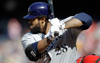 WASHINGTON, DC - APRIL 17:  Prince Fielder #28 of the Milwaukee Brewers at the plate against the Washington Nationals at Nationals Park on April 17, 2011 in Washington, DC.  (Photo by Rob Carr/Getty Images)