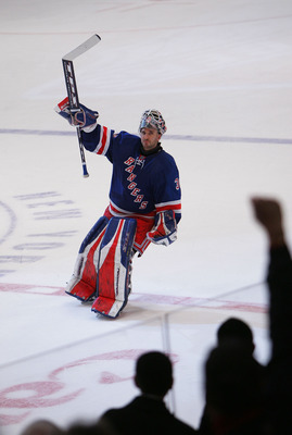 NEW YORK - DECEMBER 09:  Henrik Lundqvist #30 of the New York Rangers is named the second star of the game after his 1-0 overtime shutout of the New Jersey Devils on December 9, 2007 at Madison Square Garden in New York City. (Photo by Bruce Bennett/Getty