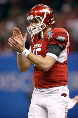 NEW ORLEANS, LA - JANUARY 04:  Ryan Mallett #15 of the Arkansas Razorbacks reacts in the first half against the Ohio State Buckeyes during the Allstate Sugar Bowl at the Louisiana Superdome on January 4, 2011 in New Orleans, Louisiana.  (Photo by Chris Gr