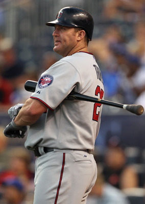 KANSAS CITY, MO - JULY 26:  Jim Thome #25 of the Minnesota Twins stands on deck during the game against the Kansas City Royals on July 26, 2010 at Kauffman Stadium in Kansas City, Missouri.  (Photo by Jamie Squire/Getty Images)