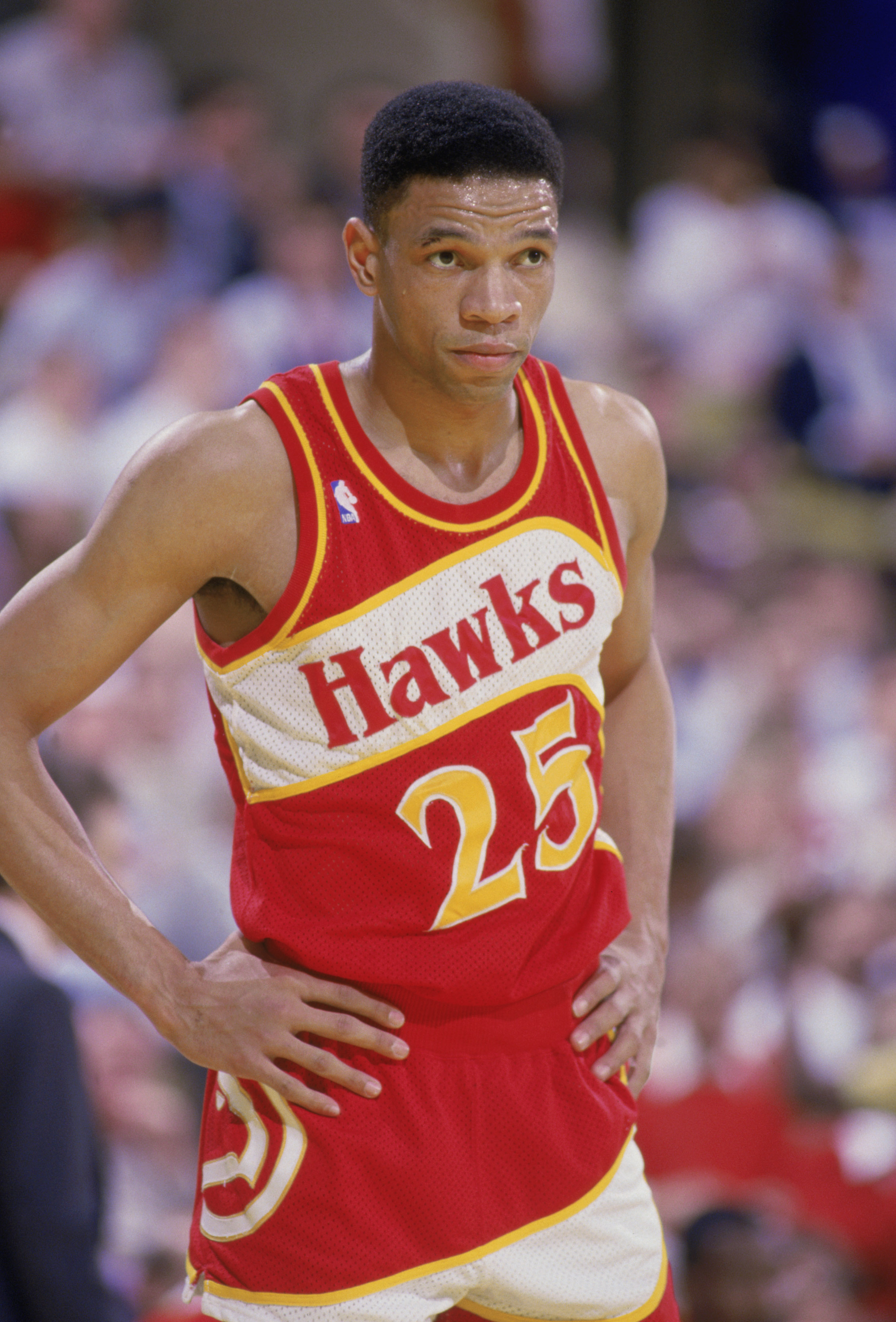 INGLEWOOD, CA - 1987:  Glenn 'Doc' Rivers #25 of the Atlanta Hawks stands on the court during a NBA game against the Los Angeles Lakers at the Great Western Forum in Inglewood, California in 1987.  (Photo by Stephen Dunn/Getty Images)