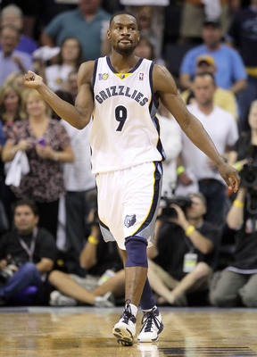 MEMPHIS, TN - APRIL 29:  Tony Allen #9 of the Memphis Grizzlies celebrates during the Grizzlies 99-91 win over the San Antonio Spurs  in Game Six of the Western Conference Quarterfinals in the 2011 NBA Playoffs at FedExForum on April 29, 2011 in Memphis,
