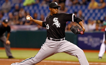 ST PETERSBURG, FL - APRIL 18:  :  Pircher Edwin Jackson #33 of the Chicago White Sox pitches against the Tampa Bay Rays during the game at Tropicana Field on April 18, 2011 in St. Petersburg, Florida.  (Photo by J. Meric/Getty Images)