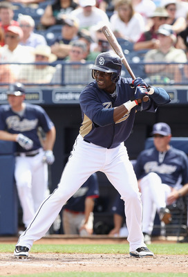 PEORIA, AZ - MARCH 15:  Orlando Hudson #1 of the San Diego Padres bats against the Los Angeles Angels of Anaheim during the spring training game at Peoria Stadium on March 15, 2011 in Peoria, Arizona.  (Photo by Christian Petersen/Getty Images)