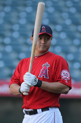 ANAHEIM, CA - APRIL 08:  Hank Conger #16 of the Los Angeles Angels of Anaheim looks on prior to the start of the game against the Toronto Blue Jays at Angel Stadium of Anaheim on April 8, 2011 in Anaheim, California.  (Photo by Jeff Gross/Getty Images)