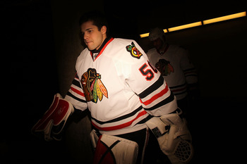 DALLAS, TX - FEBRUARY 11:  Goaltender Corey Crawford #50 of the Chicago Blackhawks at American Airlines Center on February 11, 2011 in Dallas, Texas.  (Photo by Ronald Martinez/Getty Images)