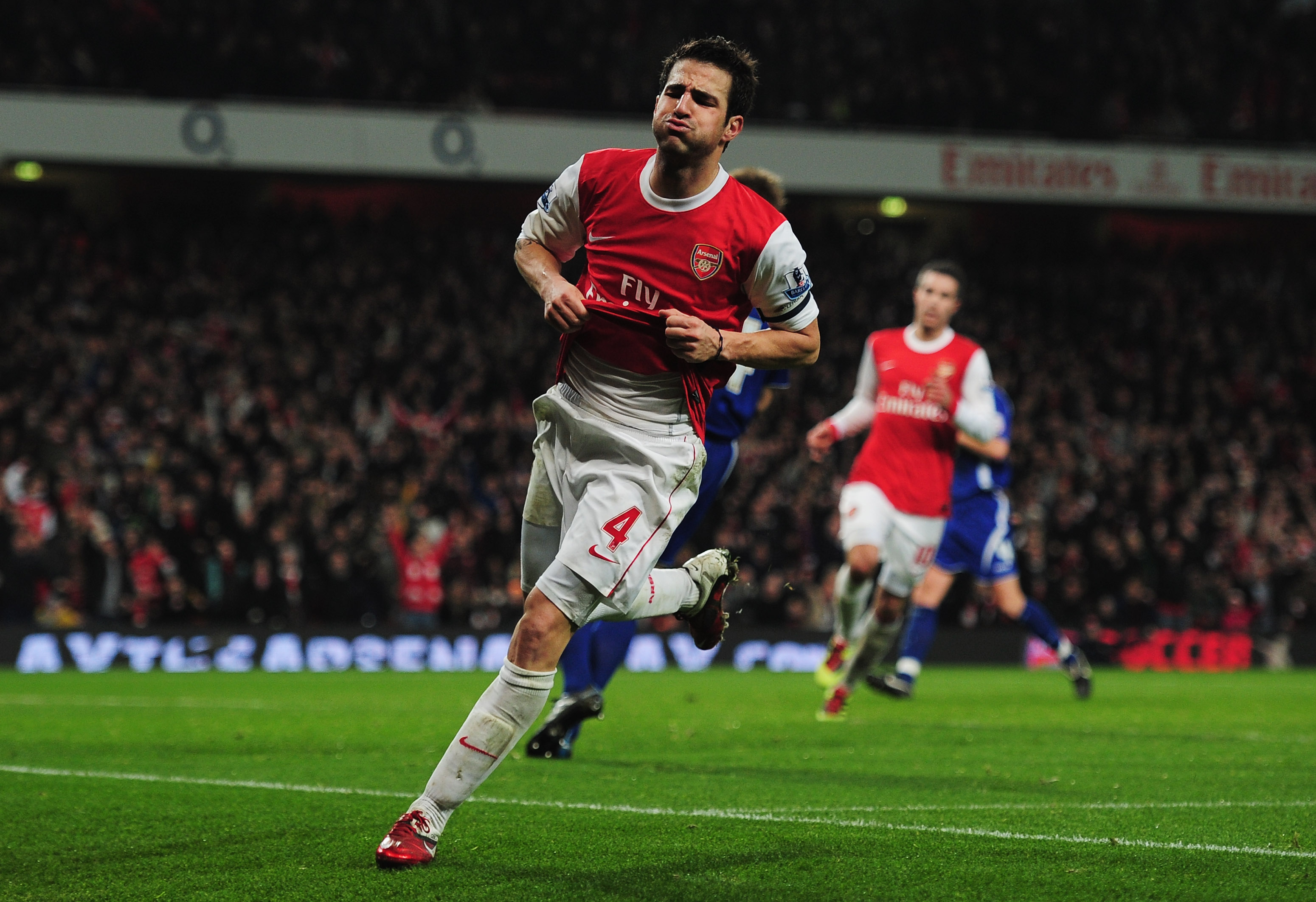 LONDON, ENGLAND - JANUARY 25:  Cesc Fabregas of Arsenal celebrates as he scores their third goal during the Carling Cup Semi Final Second Leg match between Arsenal and Ipswich Town at Emirates Stadium on January 25, 2011 in London, England.  (Photo by Sha
