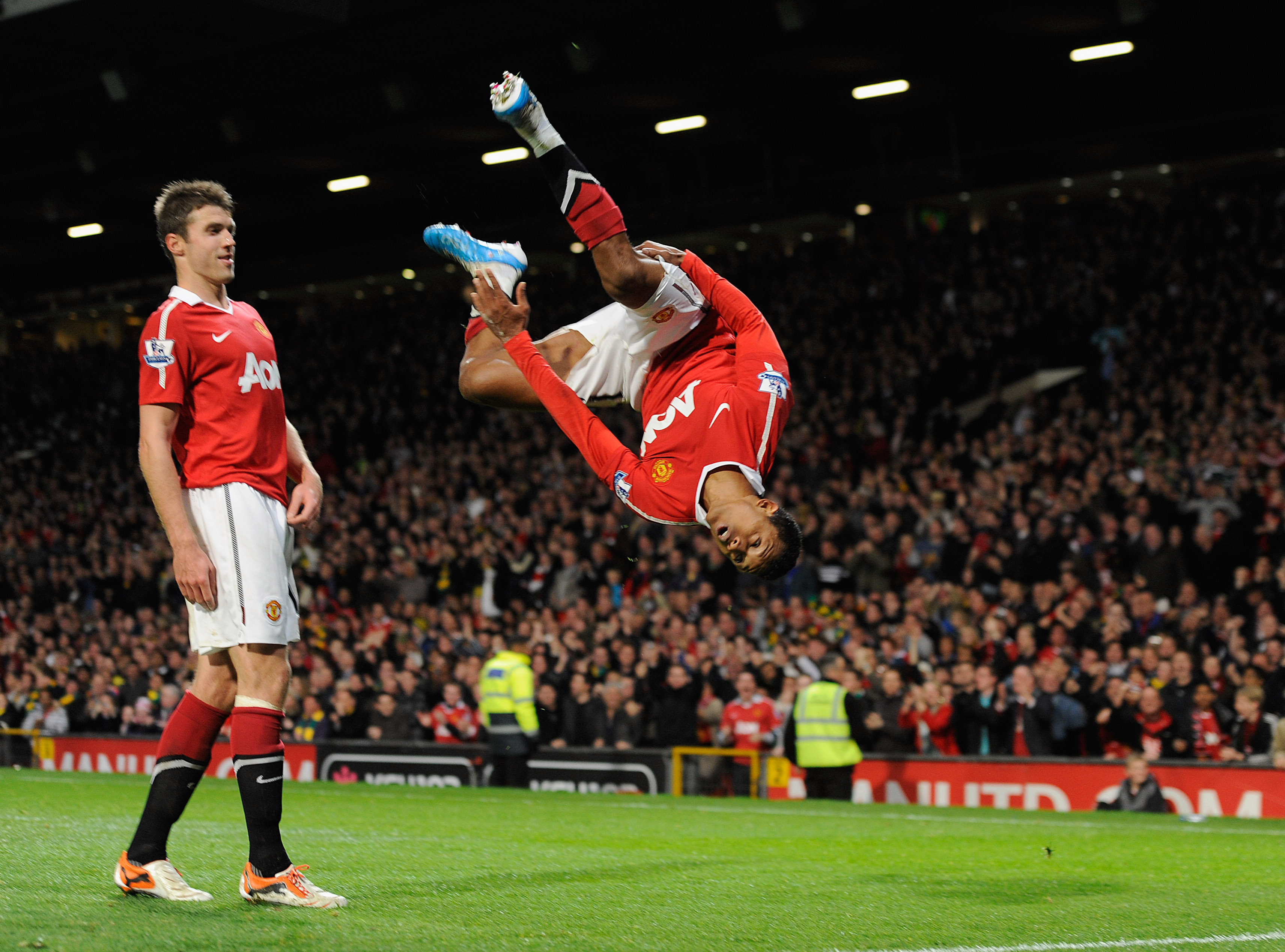 MANCHESTER, ENGLAND - OCTOBER 30: Nani of Manchester United celebrates scoring to make it 2-0 during the Barclays Premier League match between Manchester United and Tottenham Hotspur at Old Trafford on October 30, 2010 in Manchester, England.  (Photo by M