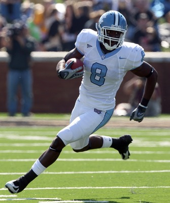 WINSTON SALEM, NC - OCTOBER 27:  Wide receiver Greg Little #8 of the University of North Carolina Tar Heels during the ACC game at the Groves Stadium, on October 27, 2007 in Winston Salem,North Carolina.  (Photo by David Cannon/Getty Images)